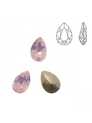Gemma a goccia sfaccettata, in cristallo, colore ROSE WATER OPAL