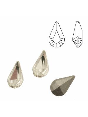 Gemma a goccia piccola sfaccettata, in cristallo, colore CRYSTAL