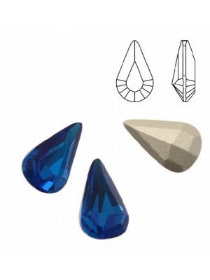 Gemma a goccia piccola sfaccettata, in cristallo, colore CAPRI BLUE