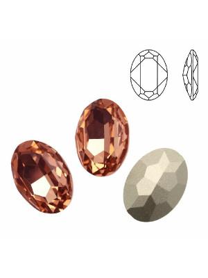 Gemma ovale sfaccettata, in cristallo, colore PESCA