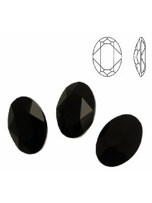 Gemma ovale sfaccettata, in cristallo, colore NERO