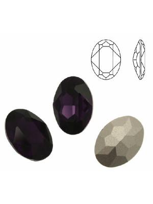 Gemma ovale sfaccettata, in cristallo, colore PURPLE VELVET