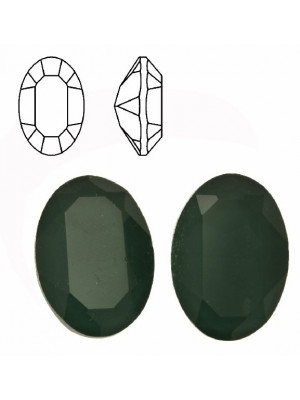 Gemma ovale sfaccettata, in cristallo, colore VERDE SCURO