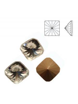 Gemma quadrata piatta sopra, in cristallo, colore CRYSTAL