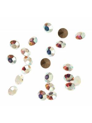 Gemma tonda conica sfaccettata, in cristallo, colore CRYSTAL AB
