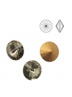 Gemma tonda a rivolo sfaccettata, in cristallo, colore BLACK DIAMOND