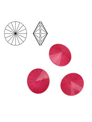 Gemma tonda a rivolo sfaccettata, in cristallo, colore FUCSIA