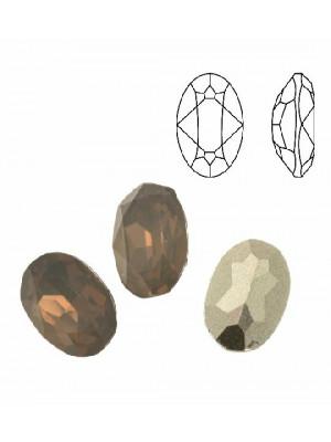 Gemma ovale sfaccettata, in plexiglass, colore LIGHT GREY OPAL
