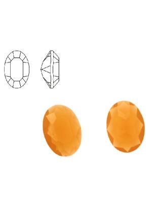 Gemma ovale sfaccettata, in resina, colore ARANCIONE OPALE