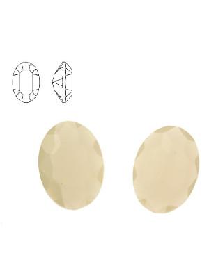Gemma ovale sfaccettata, in resina, colore WHITE OPAL