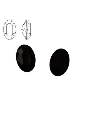 Gemma ovale sfaccettata, in resina, colore NERO