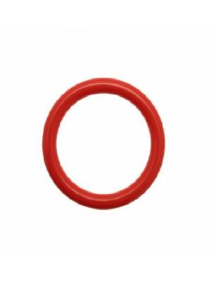 Cerchio bombato, forato al centro, in resina diametro 41 mm., spessore anello 5,5 mm., colore Corallo