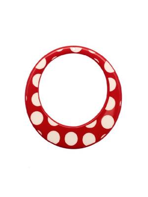 Cerchio piatto, forato al centro, in resina, con foro in alto, colore Rosso con pois bianchi