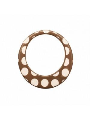 Cerchio piatto, forato al centro, in resina, con foro in alto, colore Beige con pois bianchi