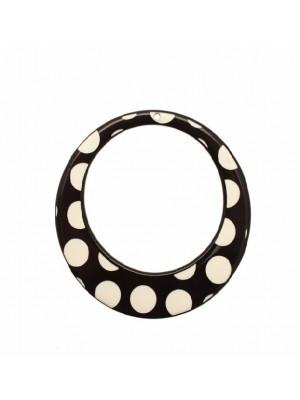 Cerchio piatto, forato al centro, in resina, con foro in alto, colore Nero con pois bianchi