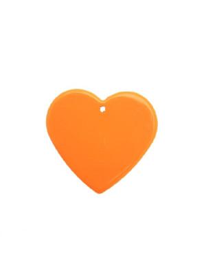 Cuore piatto liscio, con foro in alto, color Arancione fluo