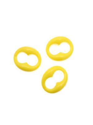 Elemento marinaro ovale apribile, componibile per catena, in resina, color Giallo fluo