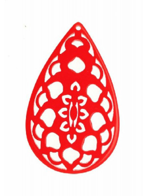 Filigrana a goccia, in resina, 36x55 mm., colore Rosso
