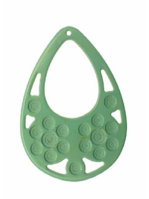 Filigrana a goccia, in resina, 57x77 mm., color Verde tiffany