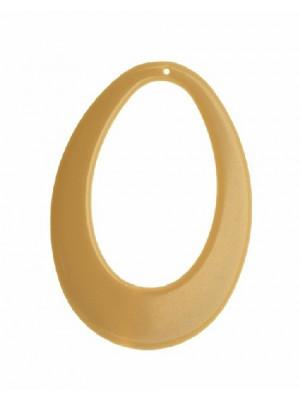 Filigrana a goccia piatta ovale, forata al centro, con un foro in alto, 58x78 mm., colore Beige