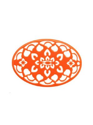 Filigrana ovale, in resina, 35x55 mm., colore Arancione