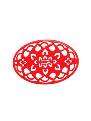 Filigrana ovale, in resina, 35x55 mm., colore Rosso