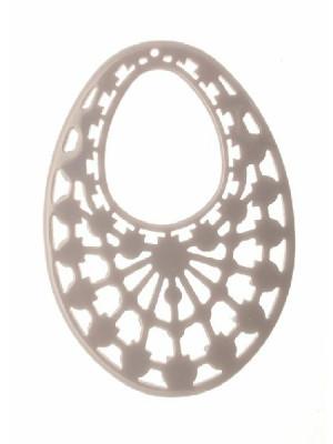 Filigrana ovale gigante, forata in alto, in resina, 60x80 mm., colore Grigio