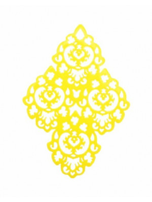 Filigrana a rombo traforata a riccioli, in resina, 44x58 mm., colore Giallo canarino