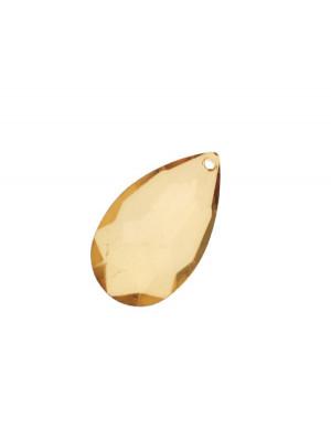 Goccia piatta multisfaccettata con foro in testa, in resina, 42x25 mm., color Topaz trasparente