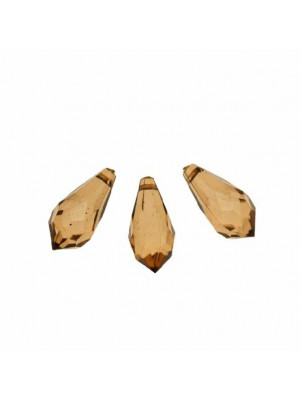 Goccia sfaccettata con foro in testa, in resina, 23x11 mm., color Marrone medio trasparente