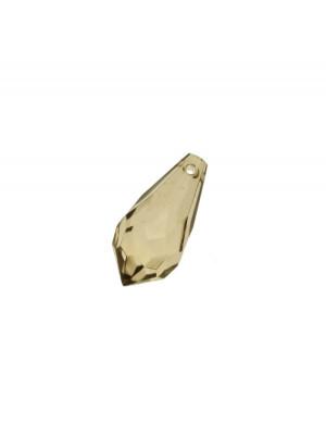 Goccia sfaccettata con foro in testa, in resina, 23x11 mm., color Verde oliva chiaro trasparente