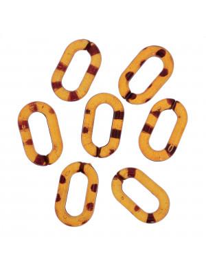 Elemento ovale apribile, componibile per catena, 27x16 mm., in resina, colore Tartarugato