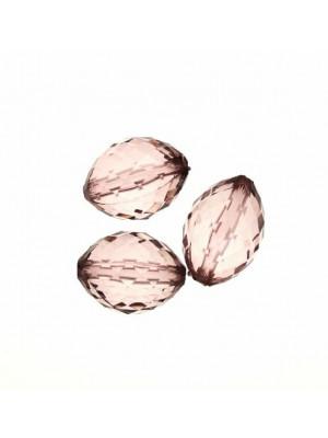 Oliva bombata multisfaccettata in resina, misura 21x15 mm., color Light Ametista trasparente