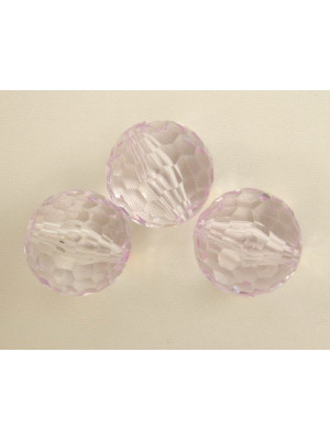 Palla multisfaccettata in resina, color Rosa Lilla chiarissimo trasparente