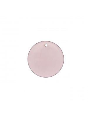 Paiette tonda liscia piatta con foro in alto, in resina, color Grigio-Viola Opale