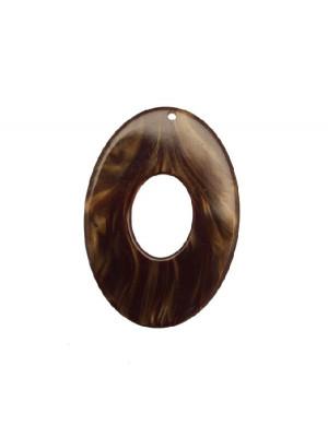 Ovale piatto forato al centro, con foro in alto, in resina, Quarzo fumè madreperlato