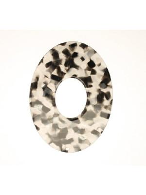 Ovale piatto forato al centro, con foro in alto, in resina, Grigio Nero mosaicato