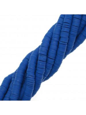 Filo di rondelle in pasta polimerica, 6x1 mm., lunghezza filo 40-41 cm., colore BLU ELETTRICO