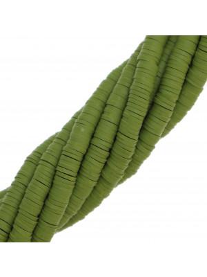 Filo di rondelle in pasta polimerica, 6x1 mm., lunghezza filo 40-41 cm., colore VERDE OLIVA