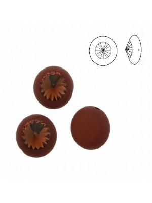 Pasticca tonda piatta, in resina, con rivolo SS47 incastonato, larga 16 mm. alta 12 mm., color MARRONE SCURO SATINATO