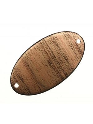 Ovale liscio piatto con 2 fori in resina, 32x58 mm., color Bronzo striato in nero
