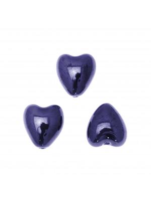 Cuore, in ceramica, con effetto perlato, 12x13 mm., colore Blu Elettrico