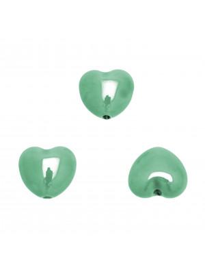 Cuore perlato, bombato in ceramica, 17x15 mm., colore Verde Acqua
