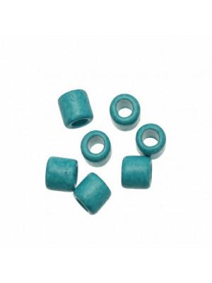 Distanziatori a tubo liscio, in ceramica, 10x11 mm., colore TURCHESE