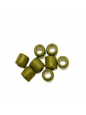 Distanziatori a tubo liscio, in ceramica, 10x11 mm., colore VERDE