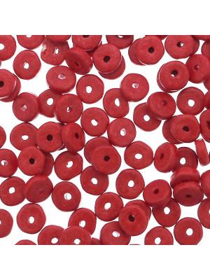 Rondella in Ceramica, piatta, 7x2 mm., colore Rosso