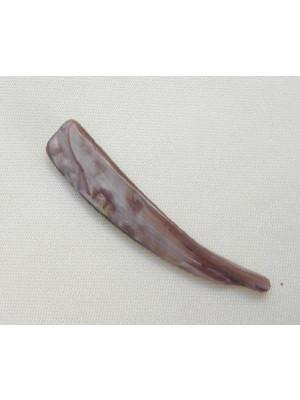 Dente in conchiglia con 1 foro, 30x8 mm., colore Melanzana