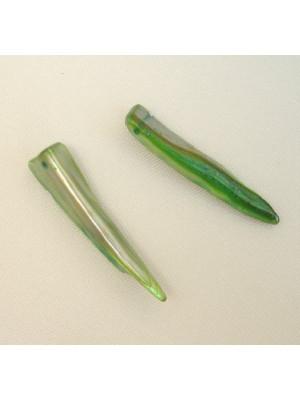 Dente in conchiglia con 1 foro, 30x8 mm., colore Verde smeraldo