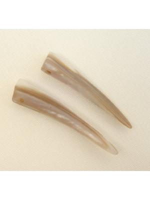 Dente in conchiglia con 1 foro, 30x8 mm., colore Beige