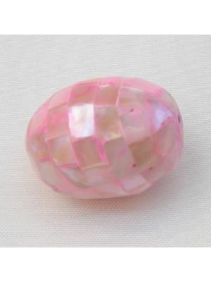 Ovale a mosaico in resina madreperlata, 28x20 mm., colore Rosa chiaro